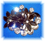 Click to view larger image of Black and White Crystal Double Flower Brooch (Image1)