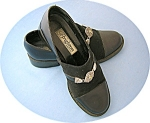 Click here to enlarge image and see more about item 0818200701: Black Leather and Micro Fibre BRIGHTON Shoes