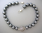Click to view larger image of Sterling Silver Antique Bead and  Grey Pearl Necklace (Image1)