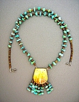 Click to view larger image of Turquoise Nuggets Heishi Bead Spiny Oyster necklace (Image1)