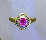 Ring 14K Diamond and  Pink Sapphire