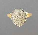Diamond  Baguette and Round Yellow Gold Ring 1 1/2 Ct