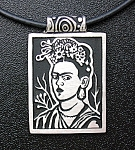 Click here to enlarge image and see more about item 0819200774: Frieda Kahlo Pewter Necklace Alice Seeley