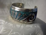 Click here to enlarge image and see more about item 082120021: Native American Sterling Silver Coral Turquoise Inlay