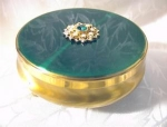 Click here to enlarge image and see more about item 0821200266: Goldtone Enamel Rhinestone/Pearl Box