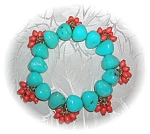 Click here to enlarge image and see more about item 0821200528: Turquoise & Coral Color Bead Expanda Bracelet