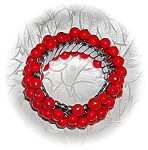 Click here to enlarge image and see more about item 0821200531: Bright Red Bead Expanding Bracelet Japan