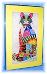 Click here to enlarge image and see more about item 0821200563: Cat Needlepoint Framed 1979 Signed ANR Hand made