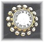 Blumenthal Borealis Crystal Goldtone Clock Brooch