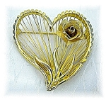 Gold BROOKS Heart & Rose Brooch