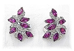 Fabulous Marquise Fuchia/Clear KRAMER Clip Earrings