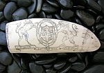 Click here to enlarge image and see more about item 0825200701: Resin Repro Ivory Scrimshaw Carving The Brandenberg