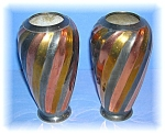 Click to view larger image of 2 Brass Copper Silvertone Flower Vases (Image1)