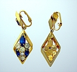 Click to view larger image of SCRAGER Sazpphire and Crystal Gold Clip Earrings.. (Image1)