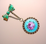 Click here to enlarge image and see more about item 08292007130: Gold and Enamel Picture locket Brooch Pin...