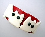Plastic Lucite Red Black White Kitty Clamper Bracelet