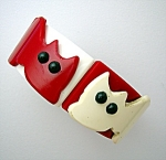 Lucite Plastic Red White Black Kitty Clamper Bracelet