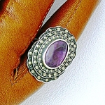 Click to view larger image of Sterling Silver Marquisite Amethyst Ring Vintage (Image1)