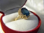 Click to view larger image of Ring14K Gold  1Ct Diamond 6ct London Blue Topaz (Image1)