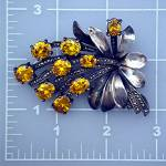 Click to view larger image of Old Golden Citrine Marquisite And Silver Pin (Image1)