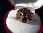 10K Yellow Gold Red Garnet Dome 7ct Ring