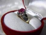 Ring 10K Yellow Gold 1ct Lab Ruby Diamond