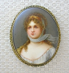 Click here to enlarge image and see more about item 0830200838: Brooch Cameo  Porcelain Pinchbeck Gold Signed 3 inch