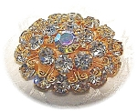 Crystal Brooch, Goldtone Brilliant Crystal Brooch