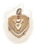 Heart Picture Locket Gold Fill with Ruby/Garnet