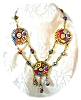Click to view larger image of MILLAFIORE Disc Drop Glass Bead Necklace Italy (Image2)