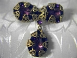Gold Filigree  Amethyst Teardrop Brooch England