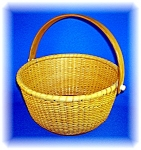 Click here to enlarge image and see more about item 0905200601: NANTUCKET BASKET SIGNED 'THR' ROUND 9 INCH