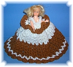 Click here to enlarge image and see more about item 0905200621: VINTAGE PLASTIC DOLL CROCHET DRESS