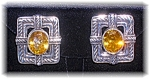 Click to view larger image of Earrings Sterling Silver Citrine Taxco Mexico Clip  (Image1)