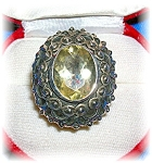 Sterling Silver Ornate 4 CT Citrine Ring From India