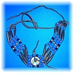 Click to view larger image of Glass Bone Leather Bead Ethnic Necklace (Image1)
