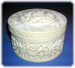 Click here to enlarge image and see more about item 0906200612: Ivory Box carved, Dragon with lid