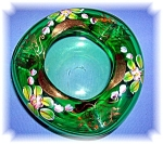 HANDMADE GREEN ART GLASS POPOREE BOWL WITH GOLD DECOR