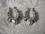 Large Silvertone Pierced Earrings