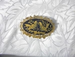 Lovebirds Filigree gold and Black Brooch
