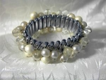 Click here to enlarge image and see more about item 0908200230: Clear Glass & Faux Pearl Bracelet  MadeJapan
