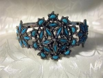 Click here to enlarge image and see more about item 0908200236: Pull Apart Silvertone & Faux Turquoise Bracel