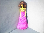 Click here to enlarge image and see more about item 0908200276: 1985 Brunette Barbie In Pink Evening Gown