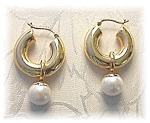 Click to view larger image of Earrings 14K Gold Hoop Detatchable  Pearl Dangle    (Image1)