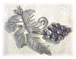 Click to view larger image of Mexico Amethyst Sterling Silver Vintage 40s Brooch  (Image1)