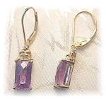Earrings 14K Gold Diamond & Amethyst Leverback