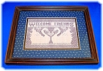 Click here to enlarge image and see more about item 0908200605: WELCOME FRIENDS LACE SWANS FRAMED MATTED PICTURE