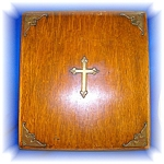 Click here to enlarge image and see more about item 0908200611: Oak Religious Wooden Box Brass Cross, purple lining
