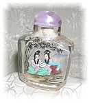 SNUFF BOTTLE REVERSE PAINTED ROCK CRYSTAL
