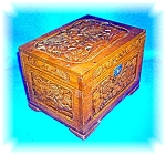 VINTAGE HAND CARVED WOODEN JEWELRY BOX WITH KEY
